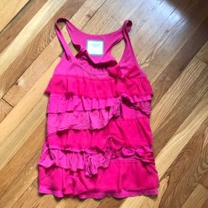 Abercrombie & Fitch Hot Pink Ruffled Tank sz L